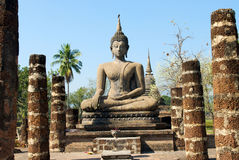 Buddha statue. Wat Mahathat Temple in Sukhothai Historical Park Royalty Free Stock Image