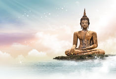 Buddha statue. Concept made with photoshop Stock Images