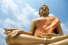 Buddha statue. Big Buddha statue and Blue Sky in Wat thai, Bangkok, Thailand Stock Photography