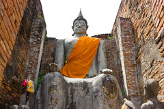 Buddha statue. Ancient Buddha statues in the public royalty free stock photo
