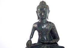 Buddha statue. Copper buddha statue closeup isolated against white Royalty Free Stock Image