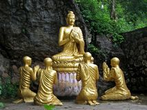 Buddha Statue. In gold in Laos, Asia Royalty Free Stock Photography