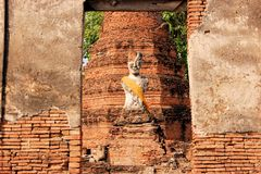 Buddha statue in Ancient city of Ayutthaya Royalty Free Stock Photos