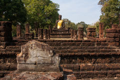 Buddha statue. Ancient Buddha images in temple , Kamphaeng Phet Royalty Free Stock Photos