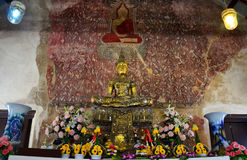 Buddha statue and ancient paint wall thai style damage inside of Royalty Free Stock Photos