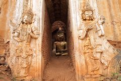Buddha statue at a ancient temple Stock Photos