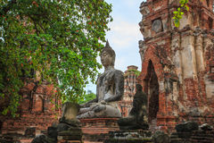 Buddha statue in ancient temple ayutthaya province word heritage Stock Photos
