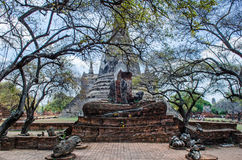 Buddha statue in antique Sanctuary. In Ayutthaya Historical Park,Thailand. Ruined Sanctuary Stock Photography