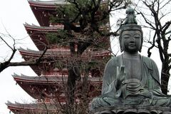 The Buddha statue around Sensoji Temple in Asakusa royalty free stock photos