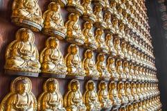 Buddha-Statue auf der Wand stockbilder