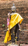 Buddha-Statue auf der Wand des thailändischen Tempels Lizenzfreies Stockbild