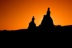 Buddha Statue in Ayudhaya. Old temple of Thailand at dawn Stock Photo