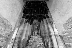 Buddha statue at Ayutthaya Thailand in black and white Stock Image