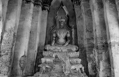 Buddha statue at Ayutthaya Thailand in black and white Stock Photos