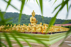 Buddha statue and bamboo leaves foreground blur Royalty Free Stock Images