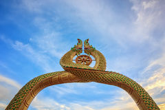 Buddha statue. Bangkok temple color gold wall background Stock Images