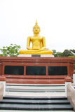 Buddha statue with base on white background as vertical Royalty Free Stock Images