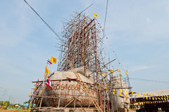 Buddha statue with blue sky under construction Stock Photos
