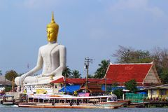 Buddha Statue at the Boat Port. In Koh Kred Nonthaburi - Thailand Stock Photos