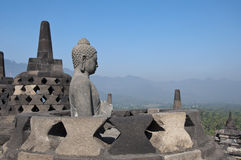 Buddha statue.  Borobudur Stock Image