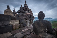 Buddha statue in Borobudur Royalty Free Stock Photography