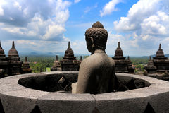 Buddha statue in Borobudur. Highlight of Borobudur in Indonesia royalty free stock photo