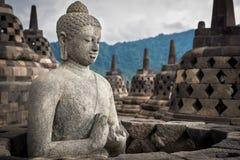 Buddha Statue at Borobudur, Java, Indonesia Stock Image