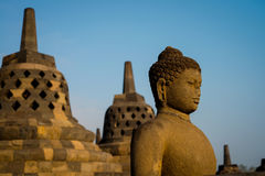 Buddha statue in Borobudur Temple,Borobudur, ancient buddhist temple near Yogyakarta, Java, Indonesia Stock Photo