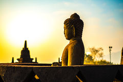 Buddha statue in Borobudur Temple,Borobudur, ancient buddhist temple near Yogyakarta, Java, Indonesia Stock Photos