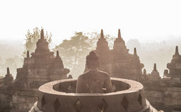 Buddha statue in Borobudur Temple,Borobudur, ancient buddhist temple near Yogyakarta, Java, Indonesia Royalty Free Stock Image