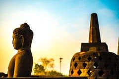 Buddha statue in Borobudur Temple,Borobudur, ancient buddhist temple near Yogyakarta, Java, Indonesia Stock Images