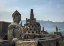 Buddha statue at the Borobudur temple, Indonesia Stock Photos