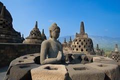 Buddha Statue at Candi Borobudur Royalty Free Stock Photography