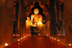 Buddha statue in candle light Royalty Free Stock Images