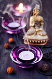 Buddha Statue and Candles Stock Photography