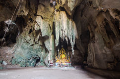 Buddha statue in cave. Of thailand Royalty Free Stock Photos