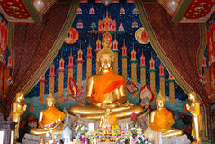 Buddha statue in the church. Wat Klang Bang Keaw temple, Nakhon Chai-sri, Nakhon Pathom, Thailand. Generality in Thailand, any kind of art decorated in Stock Images