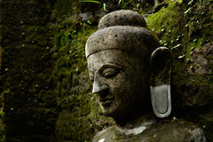 Buddha statue covered by moss in ancient temple Royalty Free Stock Photos