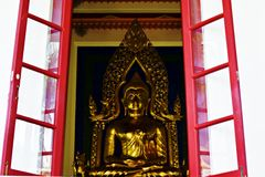 Buddha statue. Buddha created a black The architecture of the human Royalty Free Stock Image