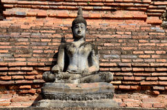 Buddha statue damage and broken with Ancient building Royalty Free Stock Image