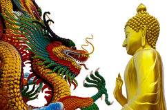 Buddha statue dragon Stock Photos