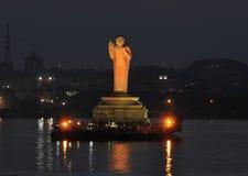 Buddha Statue. At dusk in Hussain Sagar Lake in Hyderabad, India Stock Photos