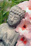 Buddha statue in a flower garden with pink flower Stock Images