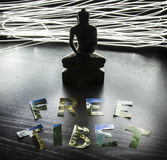 Buddha statue with Free Tibet letters Stock Image