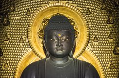 Buddha Statue golden background little Buddhas stock images