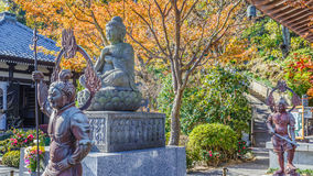 Buddha statue with the Guardians at Hasedera Temple Royalty Free Stock Images