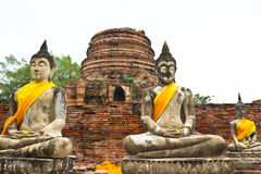 Buddha statue at historical park. Wat Chaiwatthanaram temple, Thailand Stock Photography