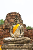 Buddha statue at historical park. Wat Chaiwatthanaram temple, Thailand Royalty Free Stock Images