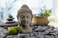 Buddha statue, hot stones Royalty Free Stock Image