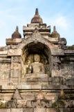 Buddha statue inside of Borobudur temple wall Stock Image
